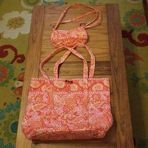 Vera Bradley Large Tote Bag & Matching Little Purs
